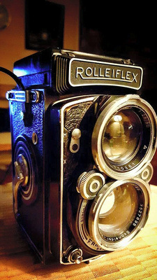 50's vintage, twin lens reflex (TLR), Rolleiflex, medium format camera.